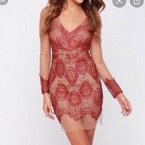 Wine+nude mesh lace dress